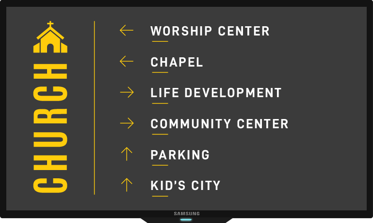 church wayfinding on tv screen