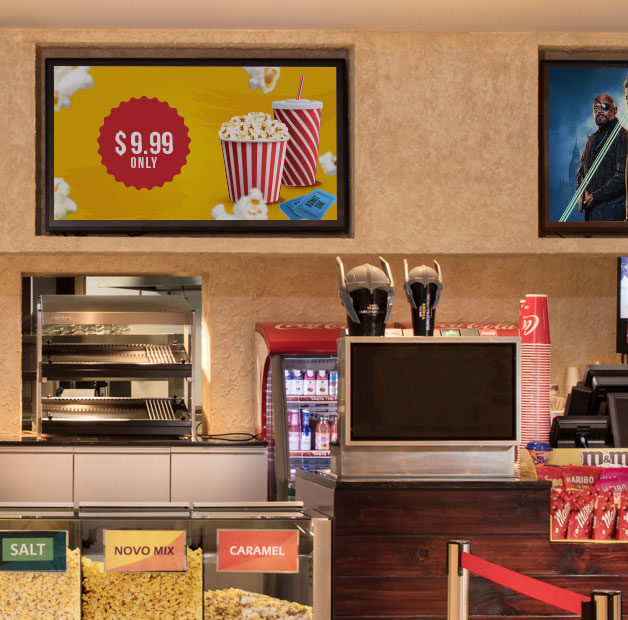 theater food menu on digital signage