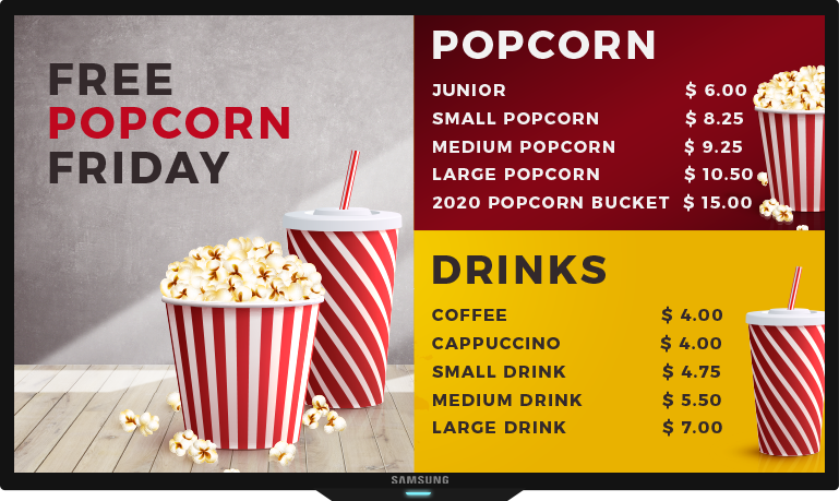 movie theater html food menu