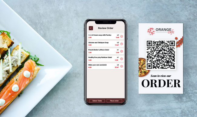 QR code menu food ordering