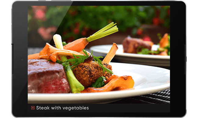 restaurant food images on tablet digital signage